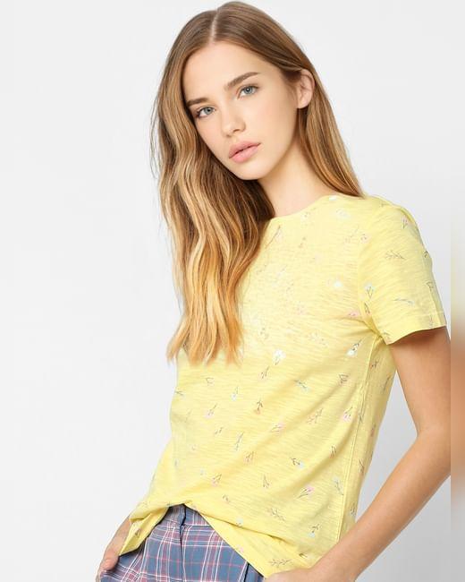 Yellow Printed Organic Cotton T-shirt