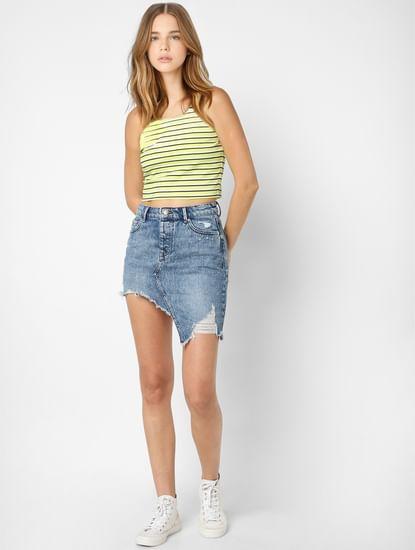 Blue High Waist Asymmetrical Hem Skirt