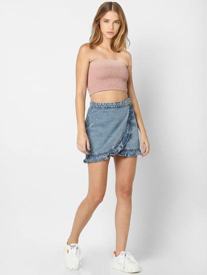 Blue Frill Detail Mini Skirt