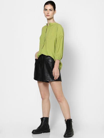 Green Drop Shoulder Puff Sleeves Shirt