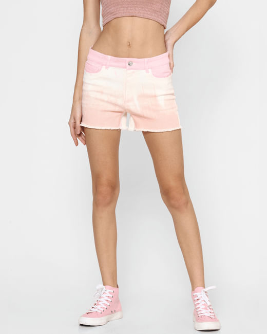 Pink Mid Rise Tie Dye Co-ord Shorts