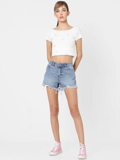 Blue Mid Rise Ditressed Studded Shorts