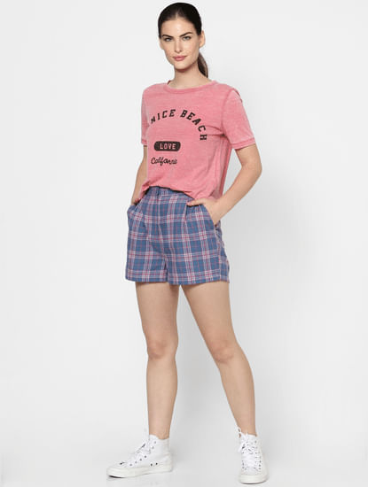 Pink Text Print Washed T-shirt