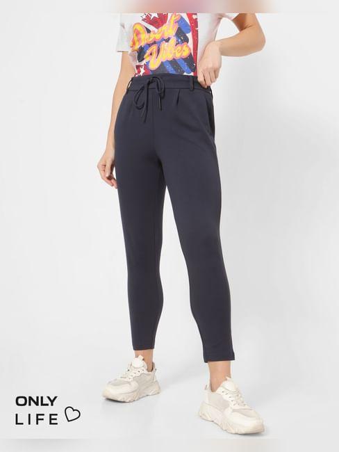 Navy Blue Mid Rise Drawstring Pants