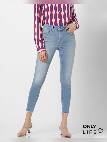 Blue Mid Rise Washed Skinny Fit Jeans