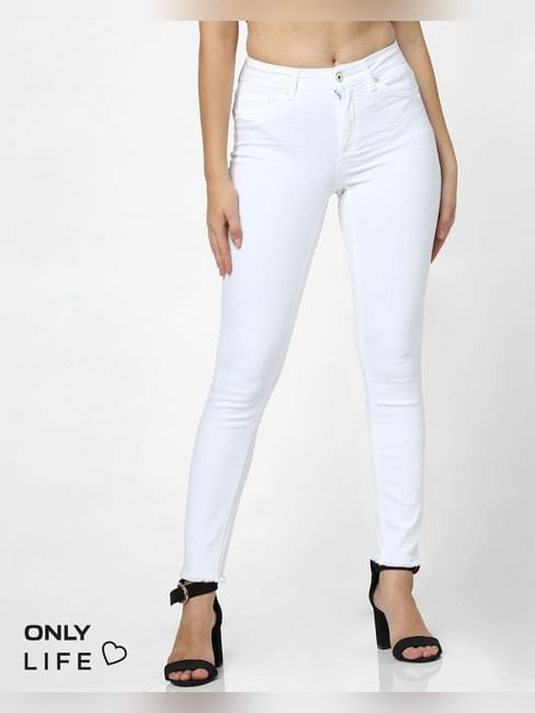 White Mid Rise Raw Edge Skinny Fit Jeans
