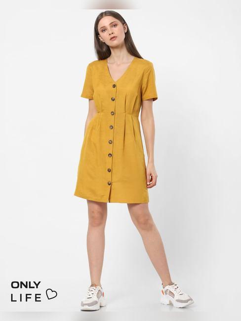 Mustard Buttoned Sheath Dress