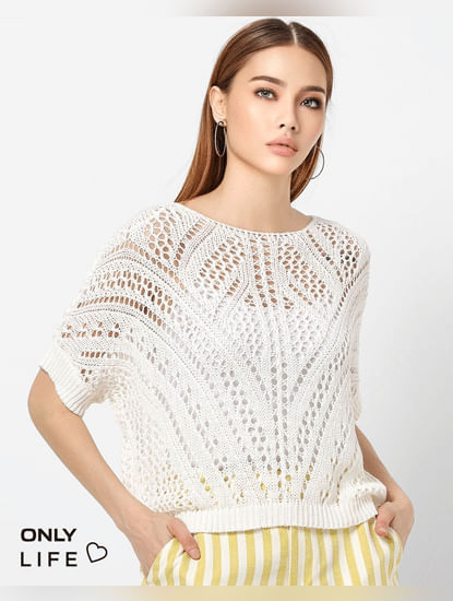 White Lace Loose Fit Pullover