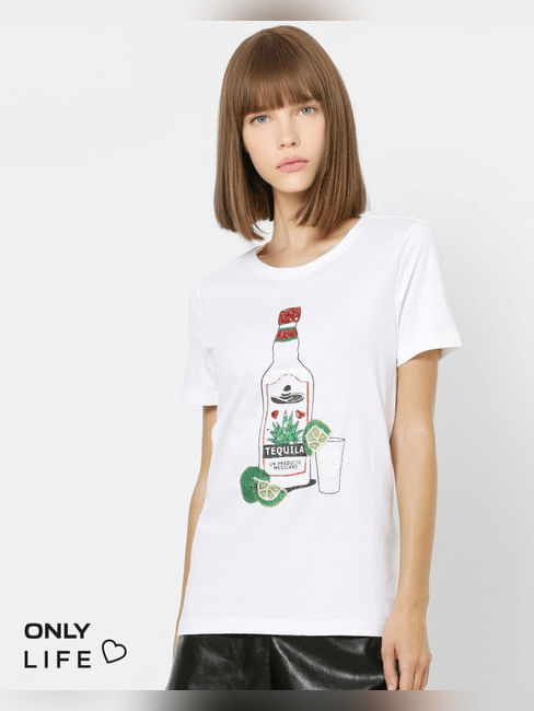 White Sequin Detail T-shirt