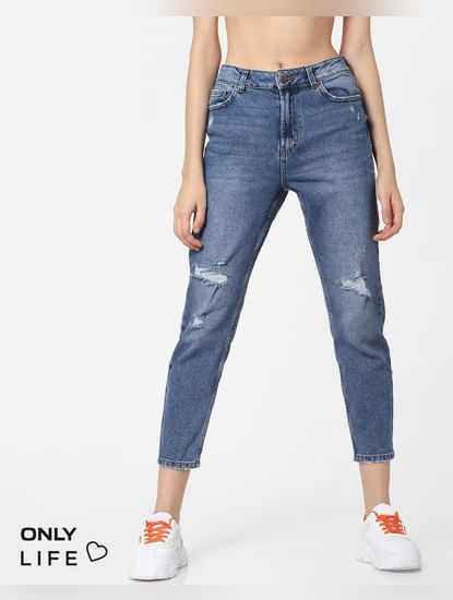 Blue High Rise Distressed Straight Fit Jeans