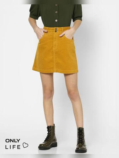 Mustard Mid Rise Corduroy Skirt