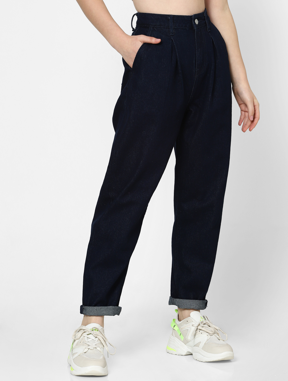 Dark Blue High Rise Baggy Jeans