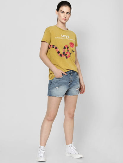 Mustard Slogan Print T-shirt