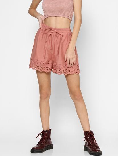 Pink High Rise Schiffli Hem Shorts