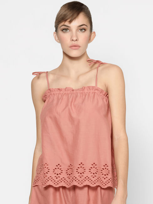 Pink Strappy Schiffli Top