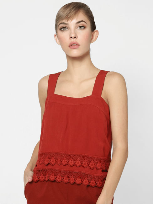 Red Strappy Lace Detail Top