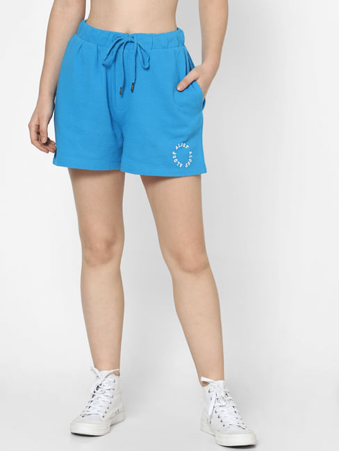 Blue High Rise Textured Co-ord Shorts