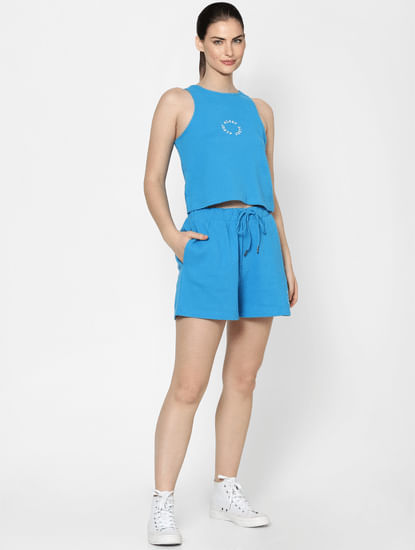 Blue High Rise Textured Co-ord Top
