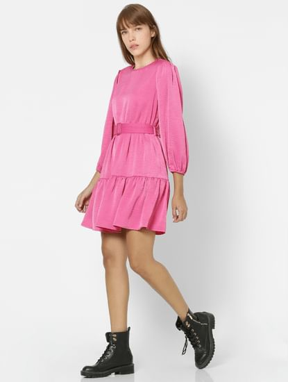 Pink Balloon Sleeves Fit & Flare Dress