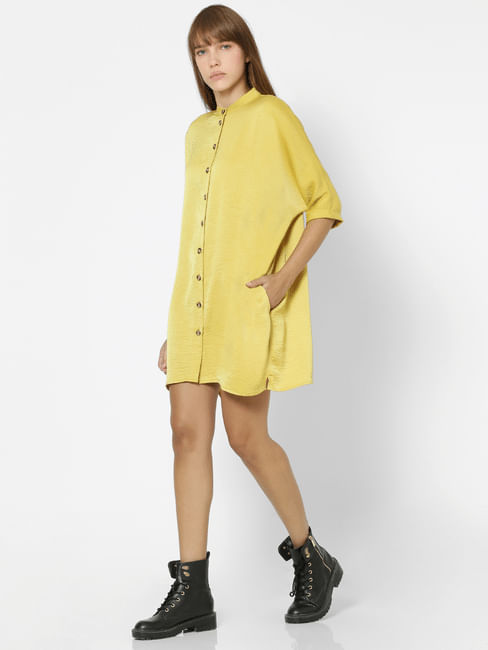 Yellow Mandarin Collar Long Shirt
