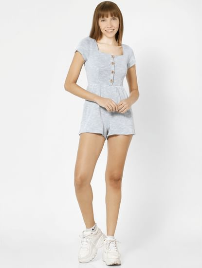 Light Blue Button Down Playsuit