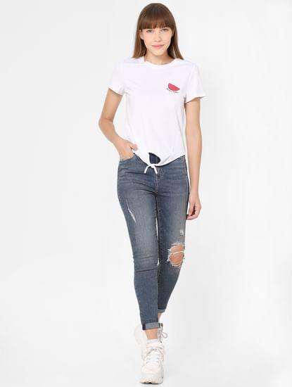 White Organic Cotton Placement Print T-shirt