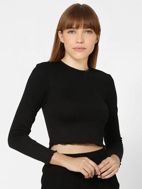 Black Jersey Crop Top