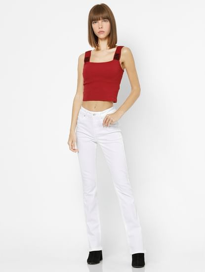 Red Text Strap Cropped Top