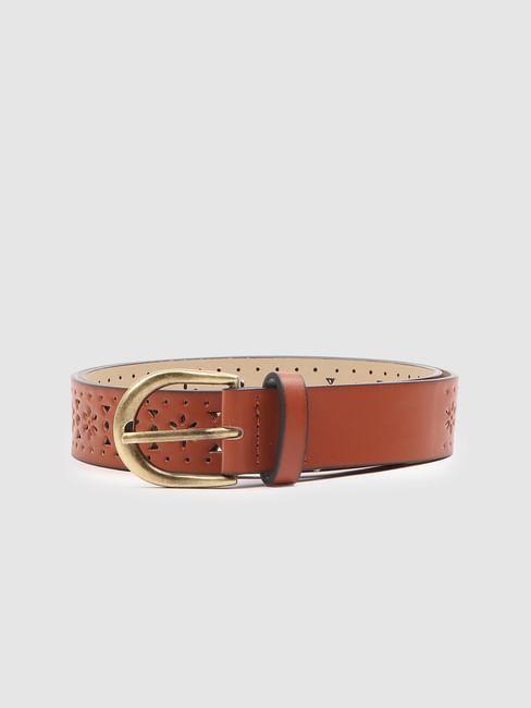 Brown Laser Cut Waist Belt