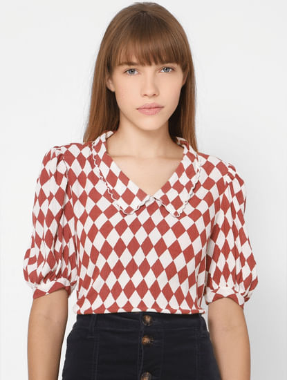 White Peterpan Collar Geometric Print Top