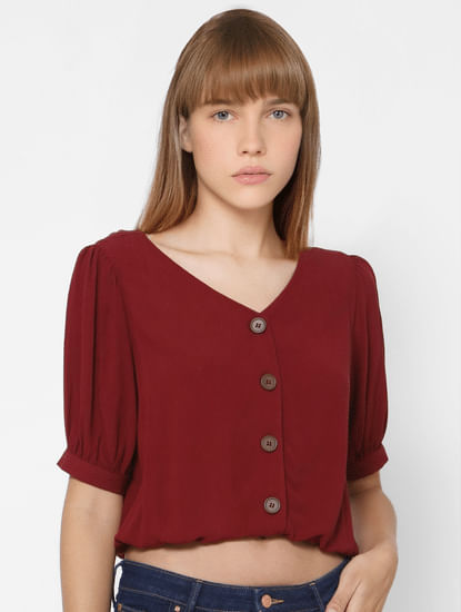 Maroon Puff Sleeves Top