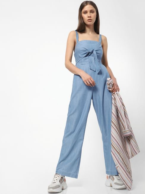 Blue Front Bow Jumpsuit