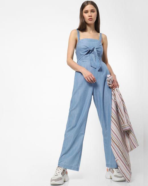 Blue Front Bow Jumpsuit