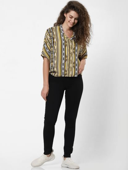 Yellow Abstract Print Shirt