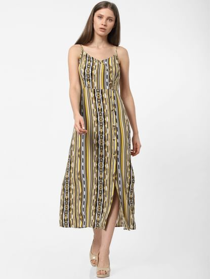 Yellow Abstract Print Midi Dress