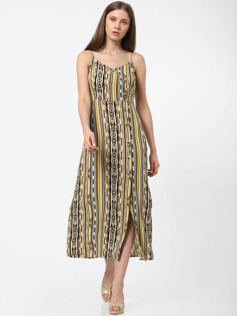 Yellow Abstract Print Midi Dress