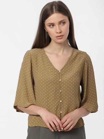 Olive Printed Flared Sleeves Top