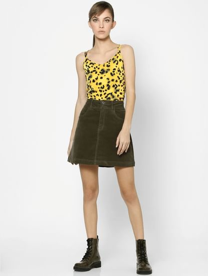 Green Mid Rise Corduroy Skirt