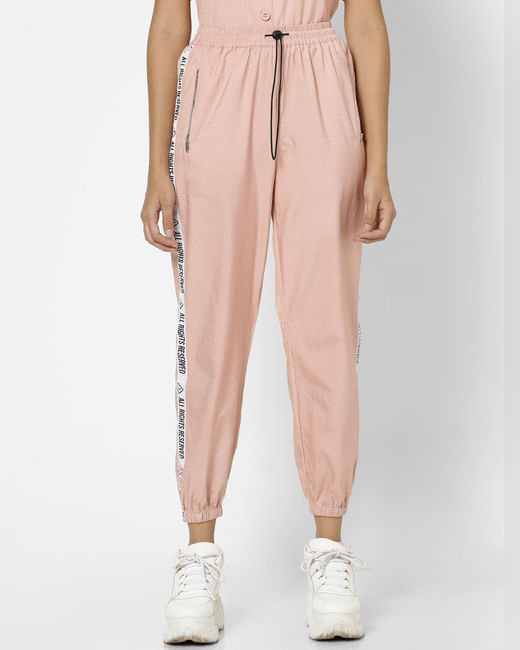 Pink High Rise Tape Detail Joggers