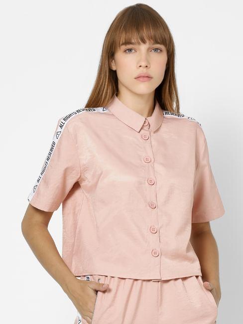 Pink Tape Detail Button Down Shirt