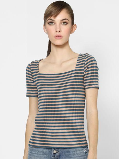 Light Pink & Blue Striped Top