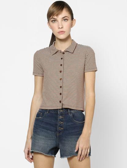 White & Brown Striped Polo Neck Top