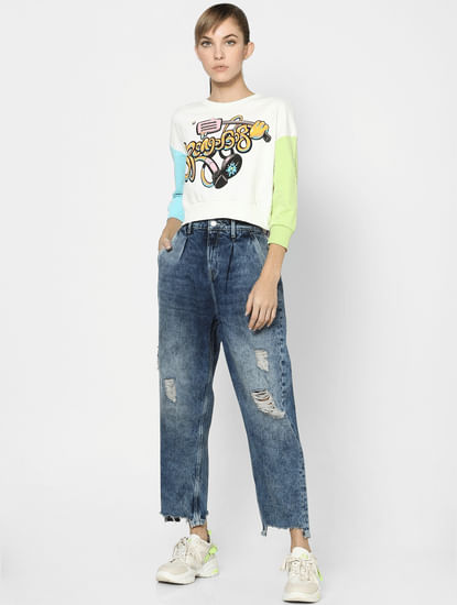 Blue High Rise Slouch Fit Distressed Jeans