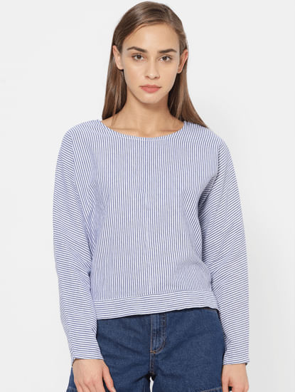 Blue Striped Back Knot Top