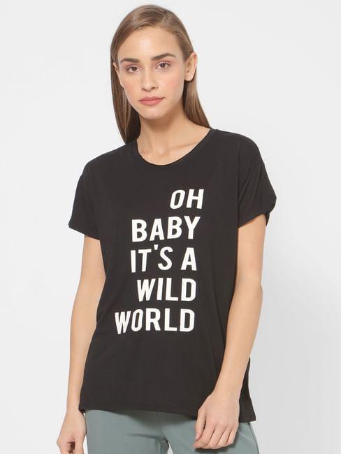 Black Text Print T-shirt