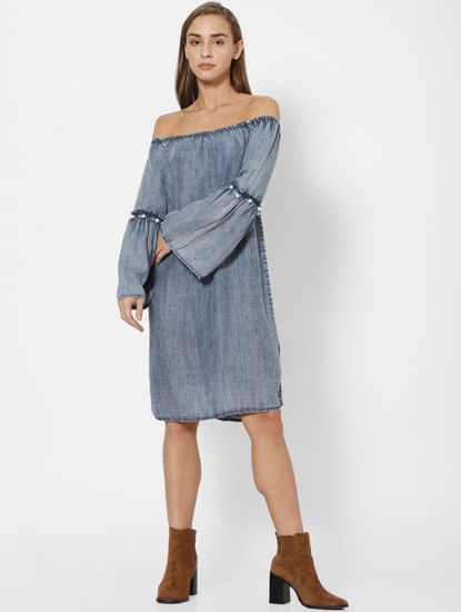 Dark Blue Denim Off Shoulder Shift Dress