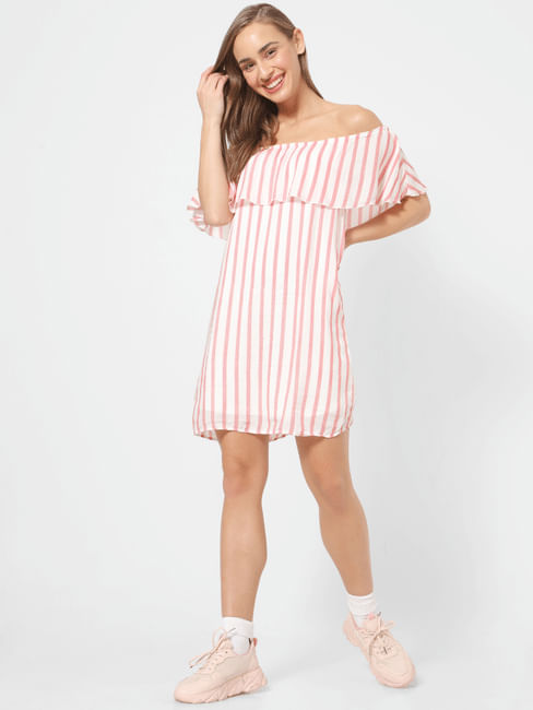 White Off Shoulder Shift Dress