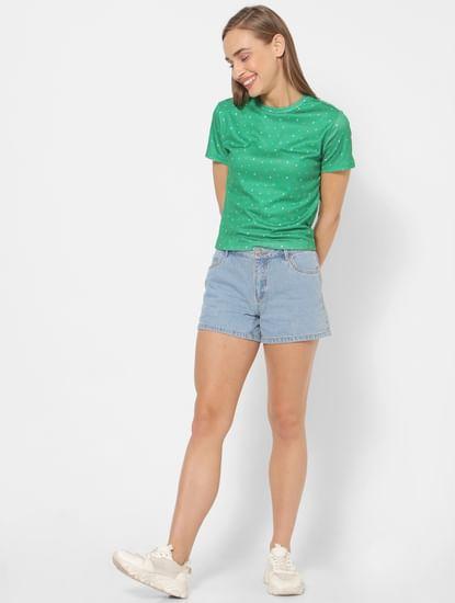 Light Blue Mid Rise Slim Fit Denim Shorts