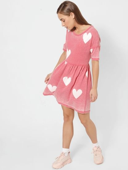 Pink All Over Heart Printed Fit & Flare Dress