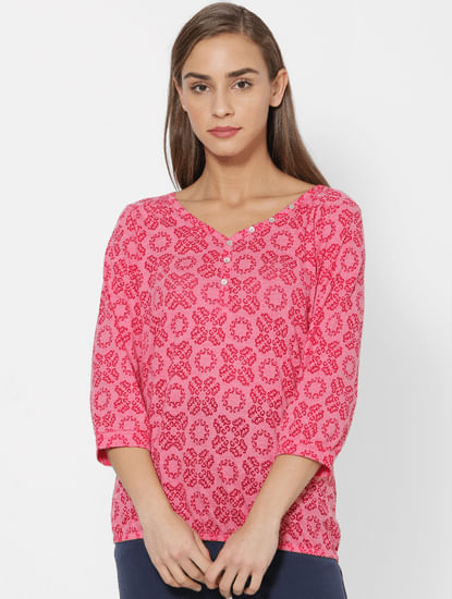 Rose Red All Over Print Top